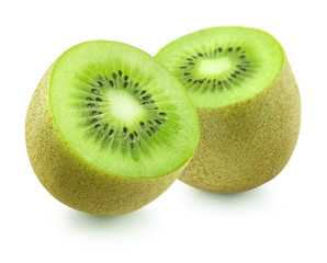 Two kiwi pieces on white background isolated