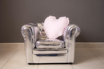 gray chair cushion design silver heart rhinestones