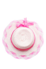 Top view of pretty ping straw hat