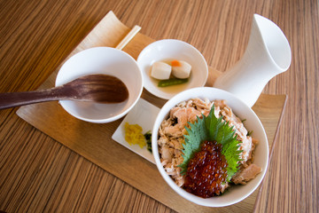 salmon rice set, set o trendy Japanese salmon rice with soup