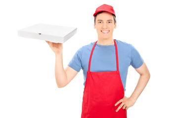 Happy man holding a box of pizza