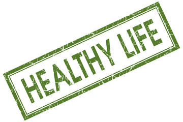 Healthy life green square grungy stamp