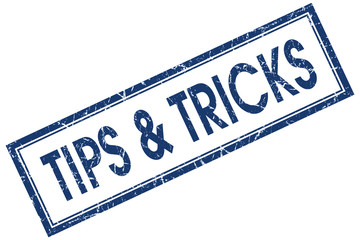 Tips & tricks blue square grungy stamp