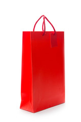Red shopping paper bag on isolated background
