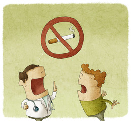 Doctor prohibiting smoking a patient