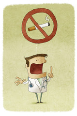 Illustration of doctor prohibiting smoking
