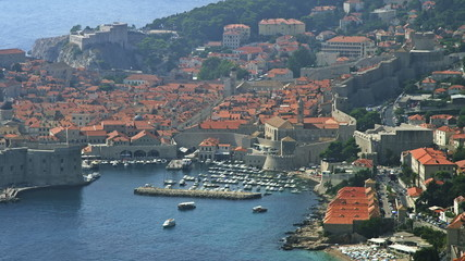 Telephoto lens panorama of Dubrovnik old town.