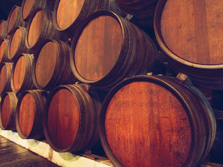 Row of wooden barrels of portwine, Porto, Portugal