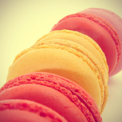 macarons with a retro filter effect