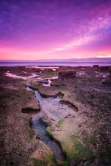 Adorable dramatic sea sunset. In tones of purple.