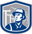 Power Lineman Repairman Shield Retro