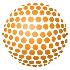Abstrakte 3D-Kugel aus Kreisen in orange – freigestellt