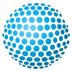 Abstrakte 3D-Kugel aus Kreisen in hellblau – freigestellt
