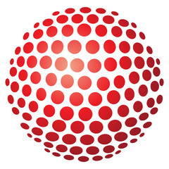 Abstrakte 3D-Kugel aus Kreisen in rot – freigestellt