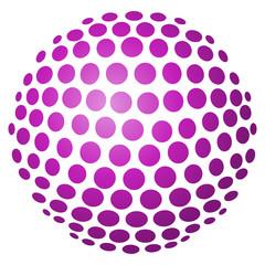 Abstrakte 3D-Kugel aus Kreisen in violett – freigestellt