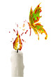 Red yellow paint flame on the candle and butterfly flying above