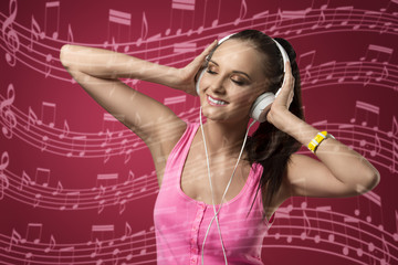 funny woman listening music