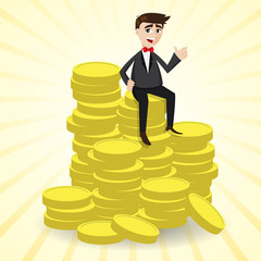 cartoon businessman sitting on stack of gold coin