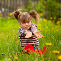 Lovely emotional five-year girl sitting in grass