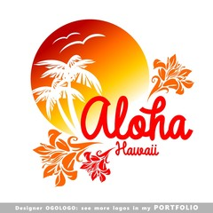 aloha, hawaii, leaves, hibiscus, floral, illustrations