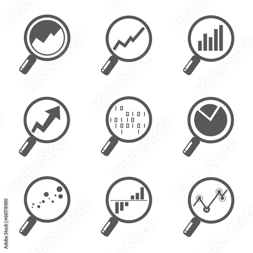 magnifier glass with data chart, analytics icons