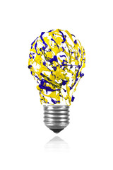 Yellow blue paint splash made light bulb