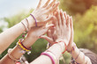 Leinwanddruck Bild - Close up of female hands