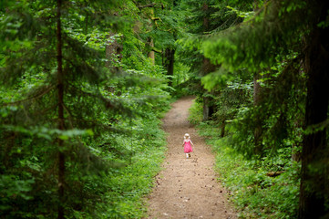 Little girl wearing pink dress walking all alone
