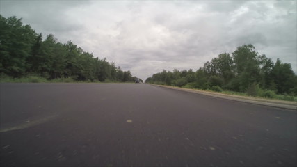 camera with fast speed moves along the highway