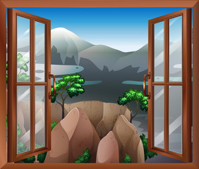 An open window with a view of the cliff