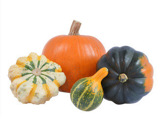 Four decorative pumpkins