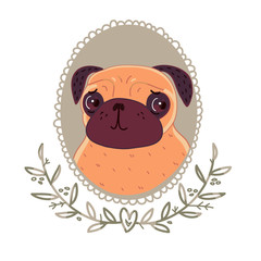 Pug with cute eyes