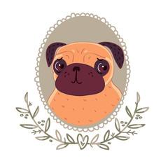 Pug with cute eyes