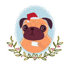 Pug with Christmas letter