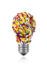 Yellow red blue paint splash made light bulb