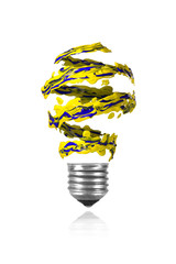 Yellow blue spiral paint trace made light bulb