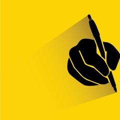 hand holding pen, writing