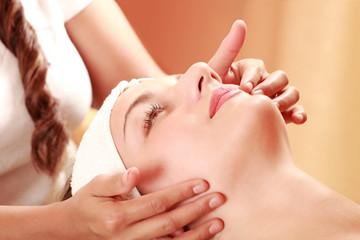 Woman face massage