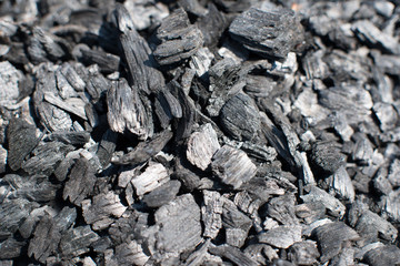 Pile of charcoal lumps