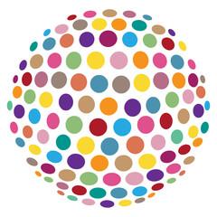 Abstrakte, bunte 3D-Kugel aus Kreisen – freigestellt
