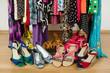 Leinwanddruck Bild - Closeup on summer sandals in a wardrobe. Tidy dressing closet.
