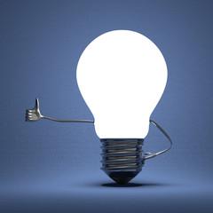 Light bulb character giving thumb up on blue