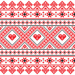Traditional folk art knitted red pattern from Ukraine