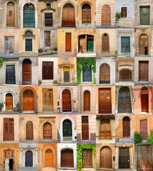 doors in Italy, collection of different beautiful ancient door i