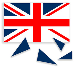 United Kingdom falling apart - flag with Scotland independent. R