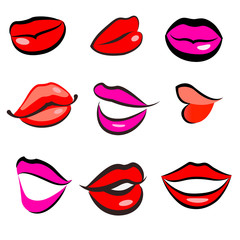 Print of red lips. Vector