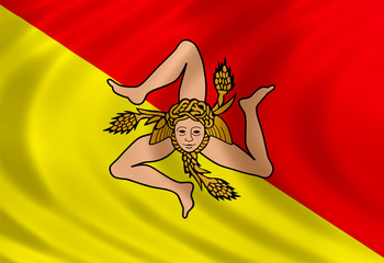 Sicily flag of silk