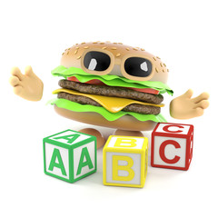 3d Burger learns his alphabet