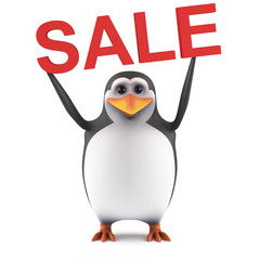 3d Cute penguin holds a Sale