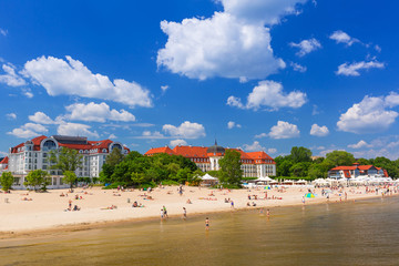 Summer on the beach of Baltic Sea in Sopot, Poland
